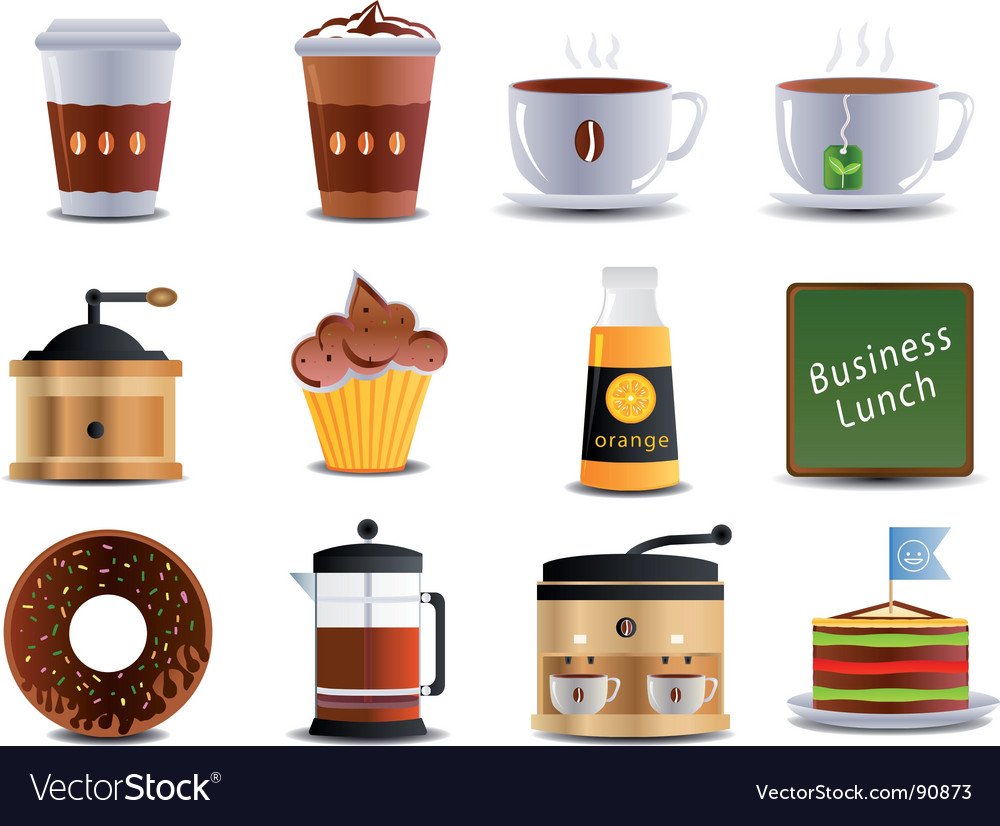 Cafe and bistro icons vector | Price: 1 Credit (USD $1)