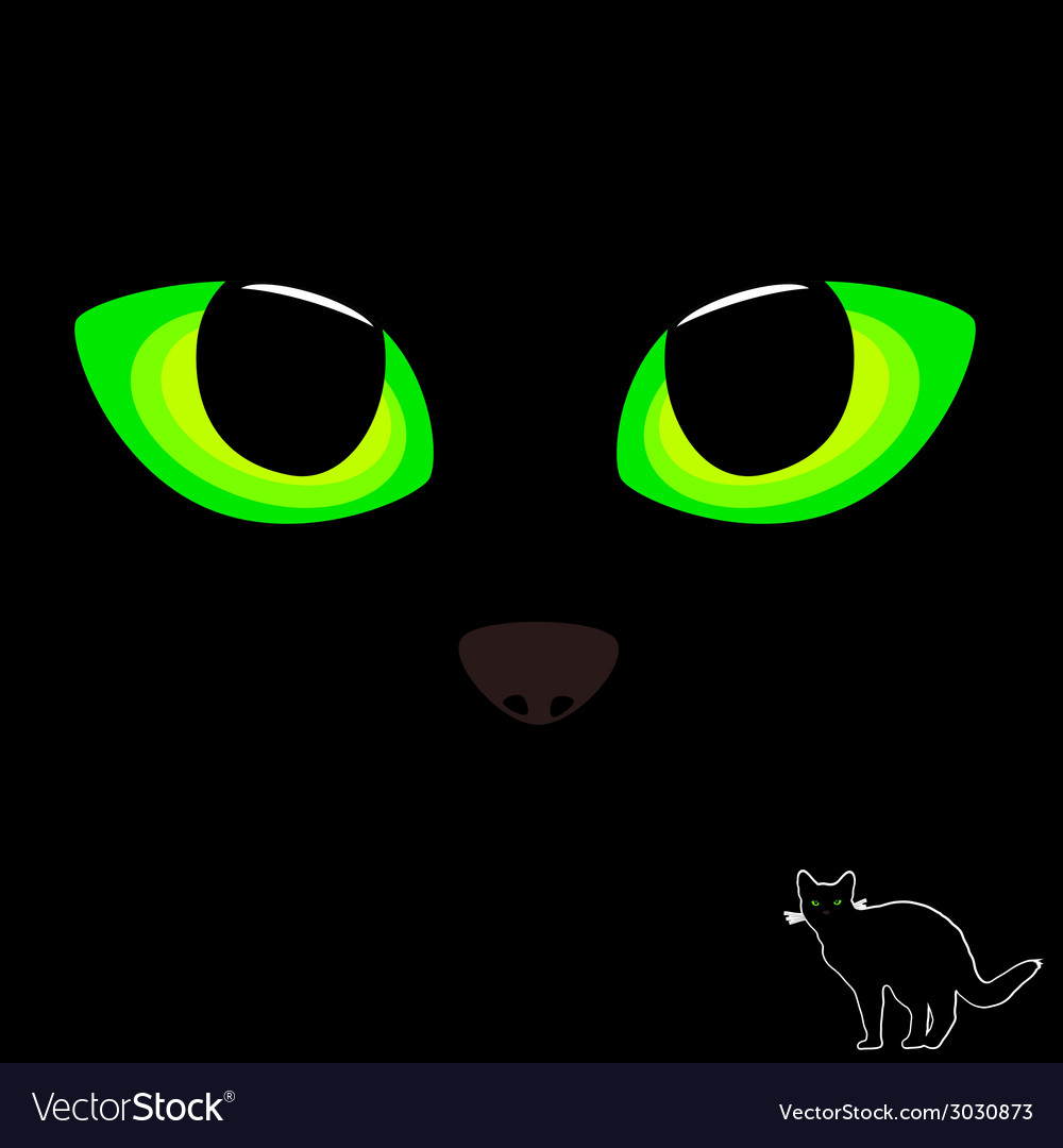 Cat eye in green color with black cat vector | Price: 1 Credit (USD $1)