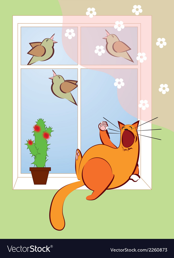 Cat sings with the birds vector | Price: 1 Credit (USD $1)