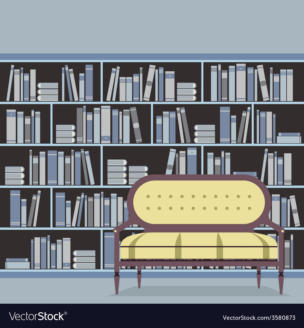 Empty reading seat in front of a bookcase vector | Price: 1 Credit (USD $1)