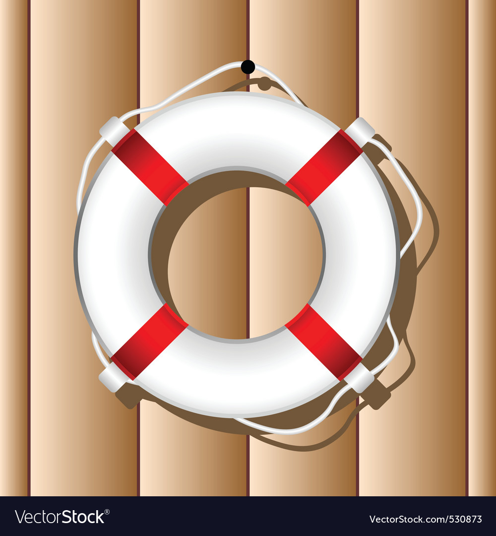 Hanging marine buoy over wood wall background vector | Price: 1 Credit (USD $1)