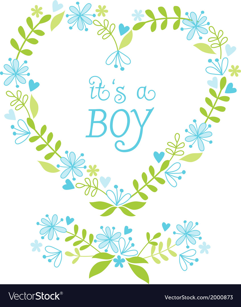 Its a baby boy floral heart vector | Price: 1 Credit (USD $1)