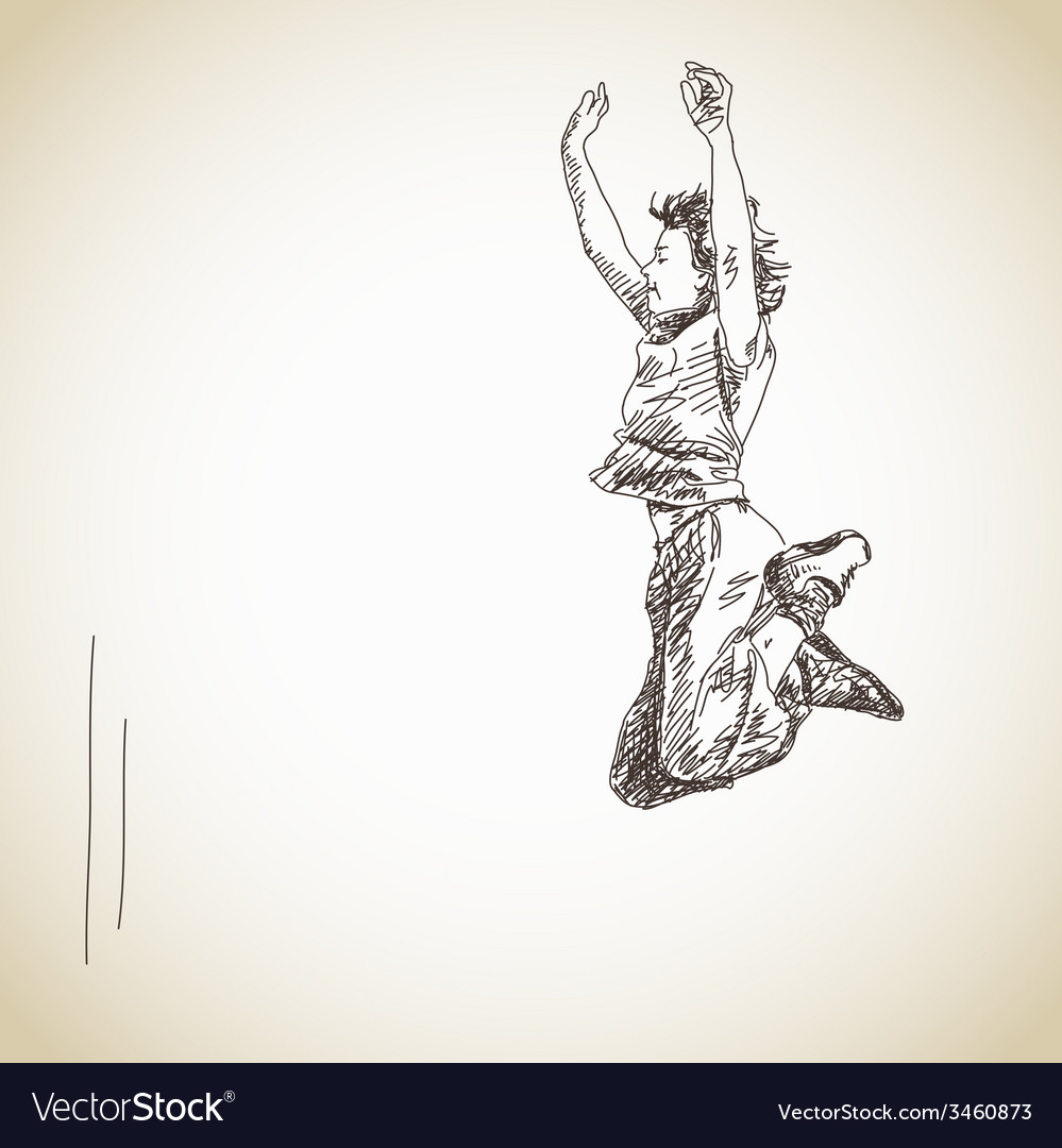 Jumping young woman vector | Price: 1 Credit (USD $1)