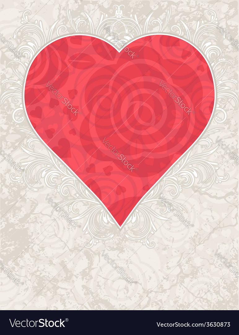 Lovely valentine red heart with roses vector | Price: 1 Credit (USD $1)