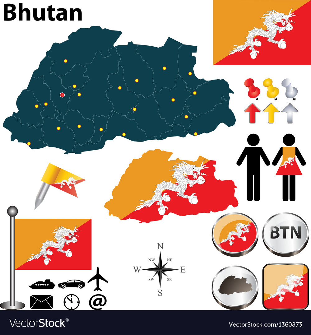 Map of bhutan vector | Price: 1 Credit (USD $1)
