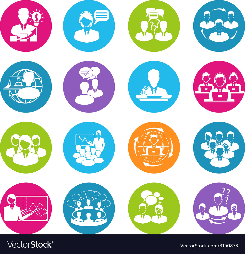 Meeting icons set vector | Price: 1 Credit (USD $1)