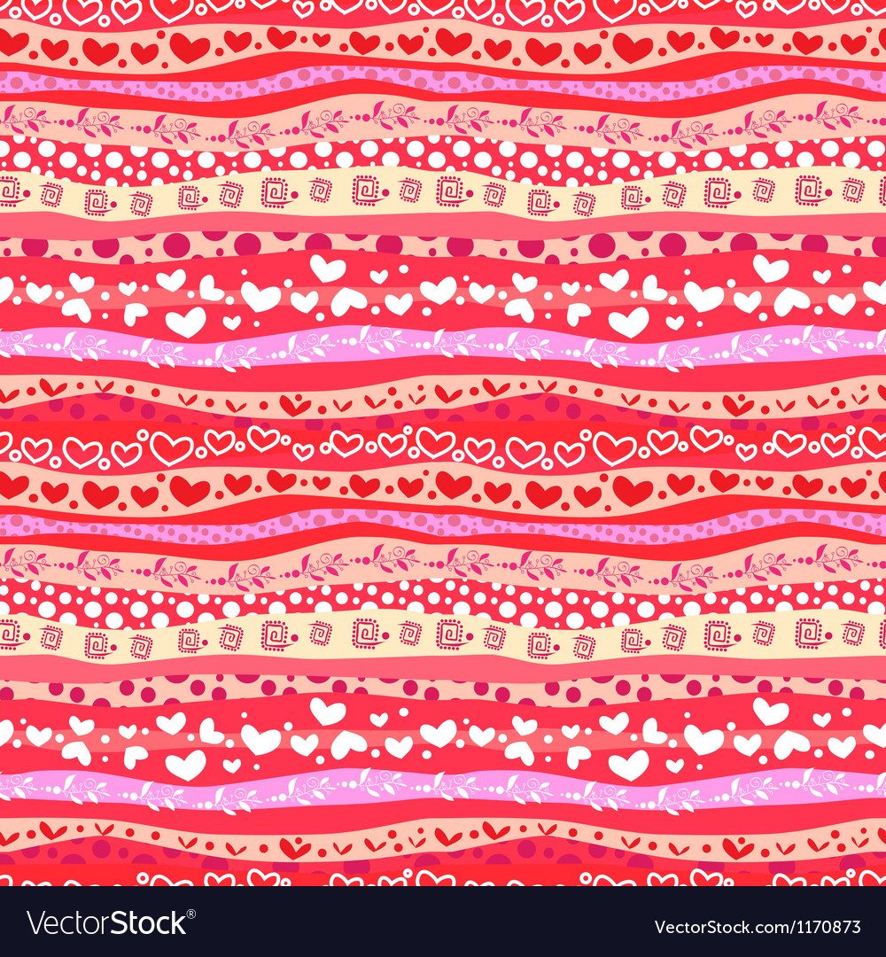 Red love valentins day waves seamless background vector | Price: 1 Credit (USD $1)