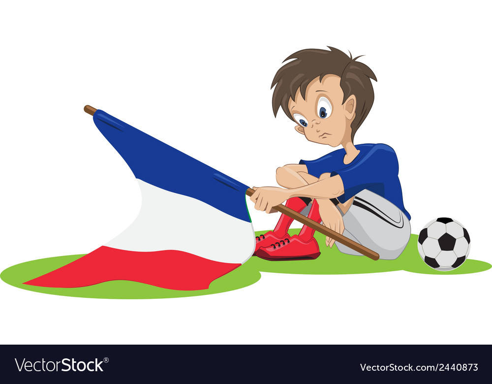 Sad france soccer fan vector | Price: 1 Credit (USD $1)