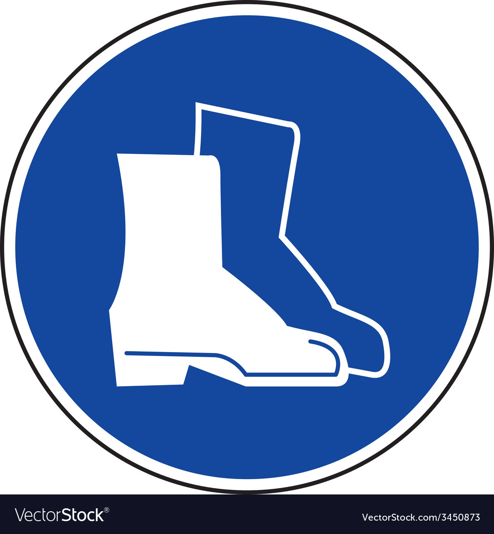 Safety boots must be worn sign vector | Price: 1 Credit (USD $1)