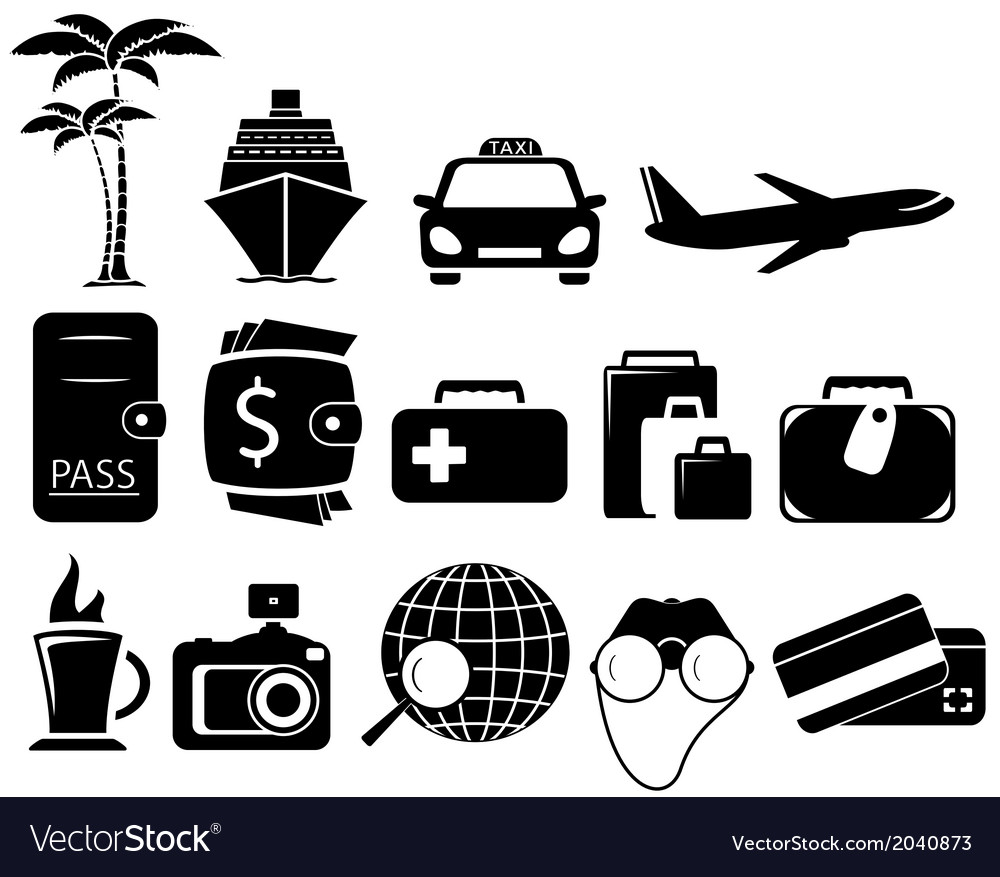 Set black travel objects vector | Price: 1 Credit (USD $1)