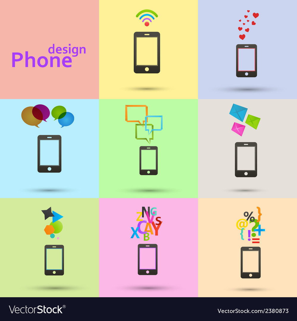 Set of phones icons vector | Price: 1 Credit (USD $1)
