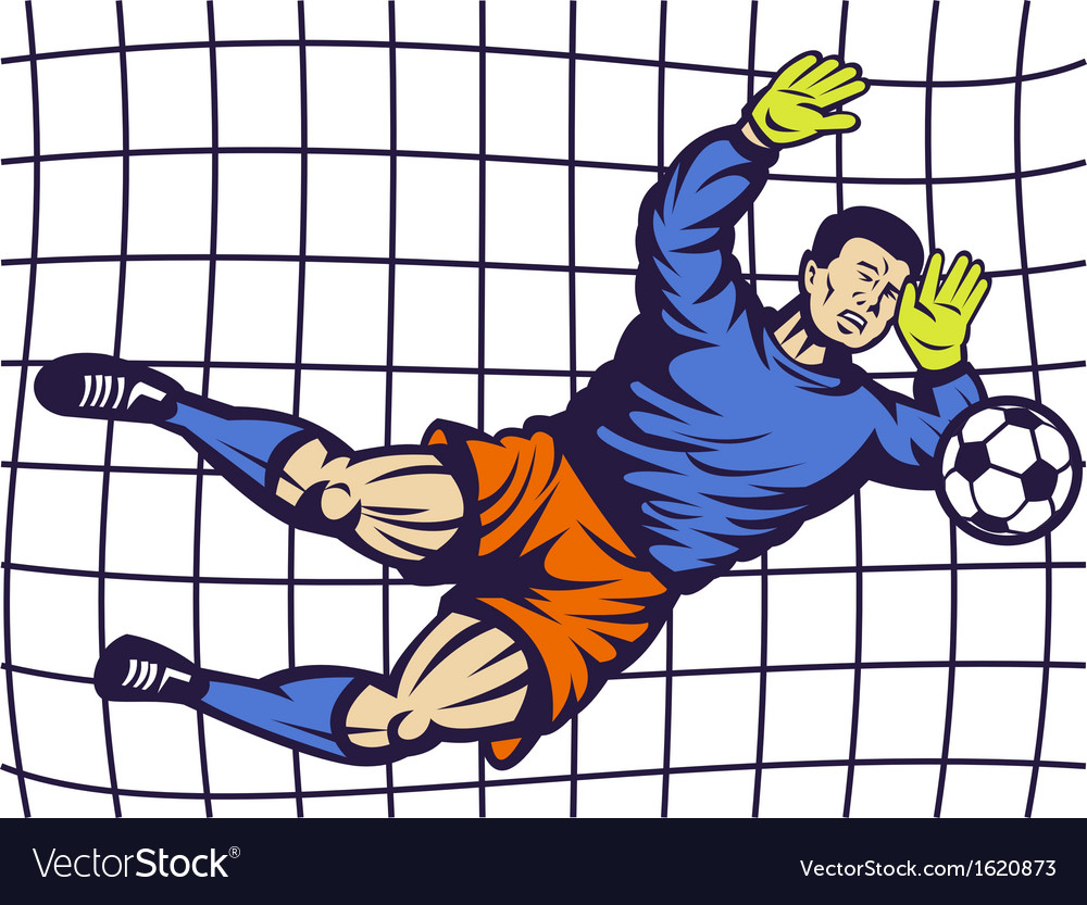 Soccer football goalie keeper saving goal vector | Price: 1 Credit (USD $1)