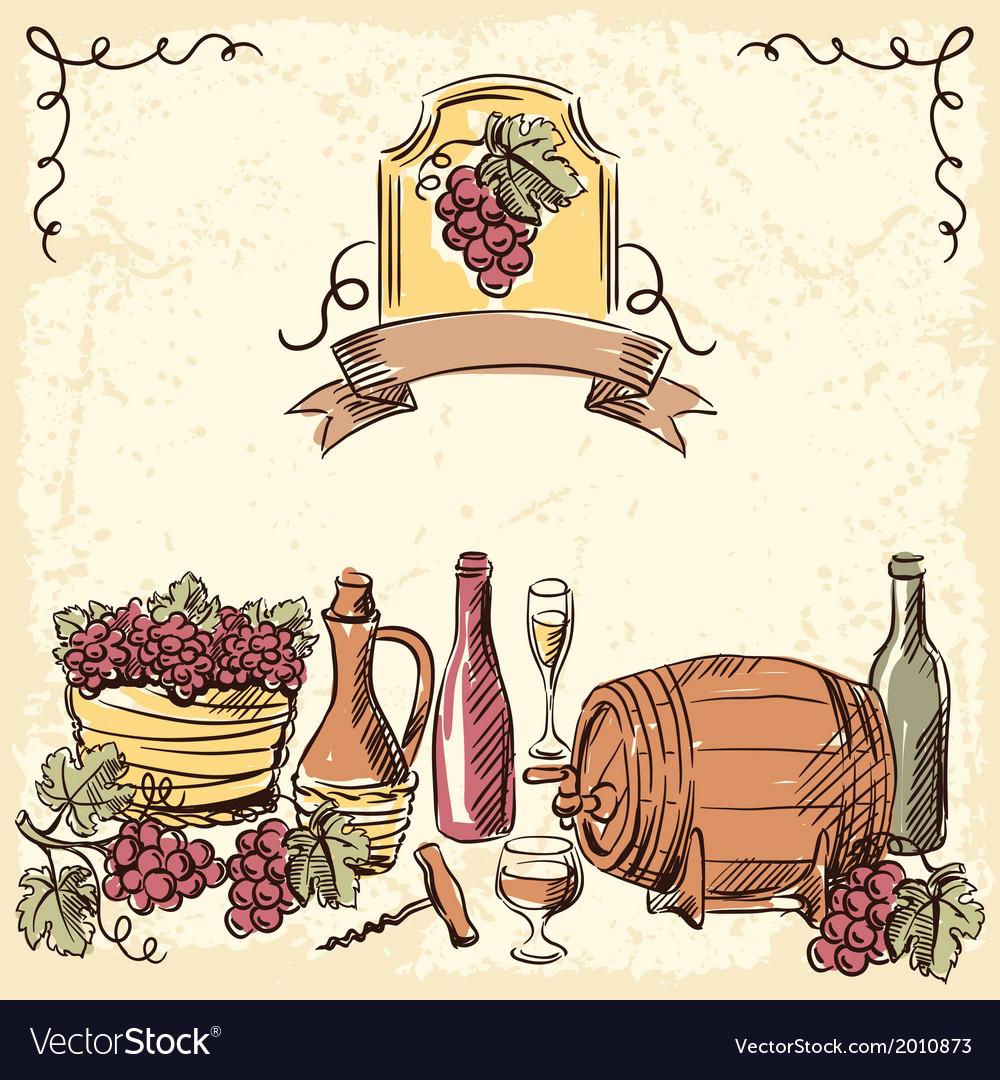 Wine vintage hand drawn vector | Price: 1 Credit (USD $1)