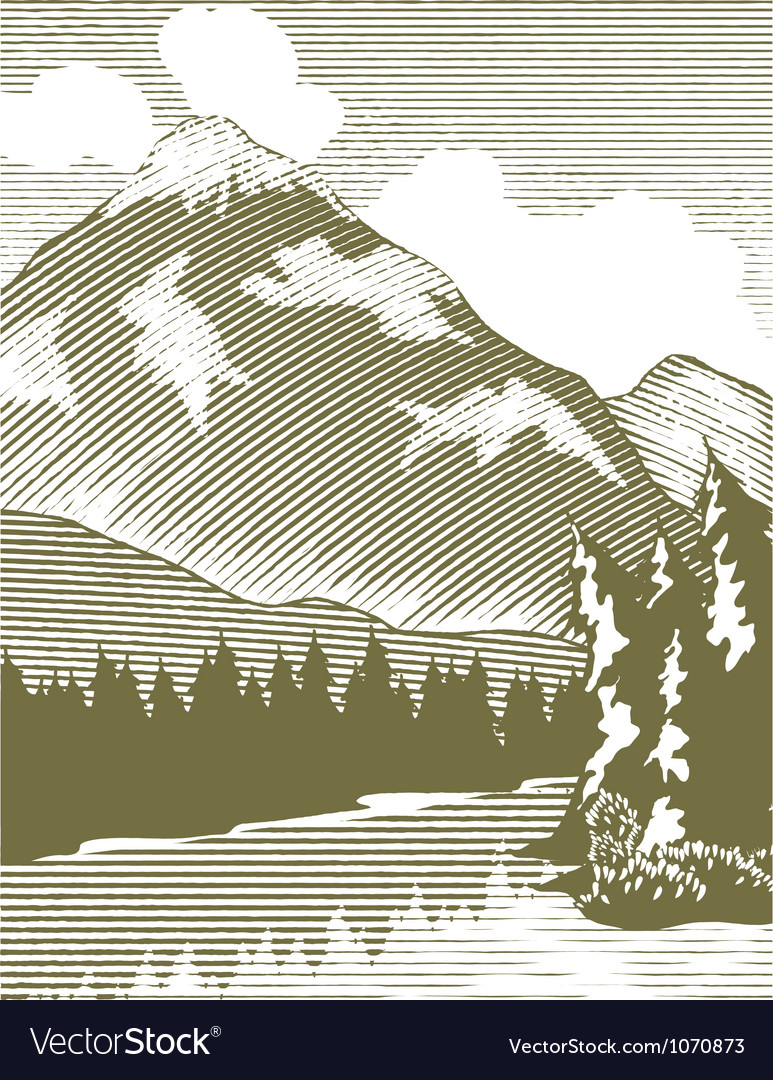 Woodcut wilderness lake vector | Price: 1 Credit (USD $1)