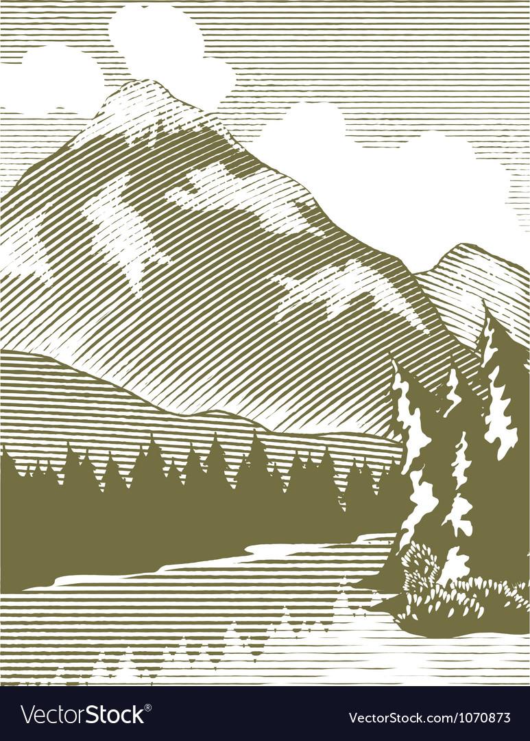 Woodcut wilderness lake vector | Price: 1 Credit (USD $1)