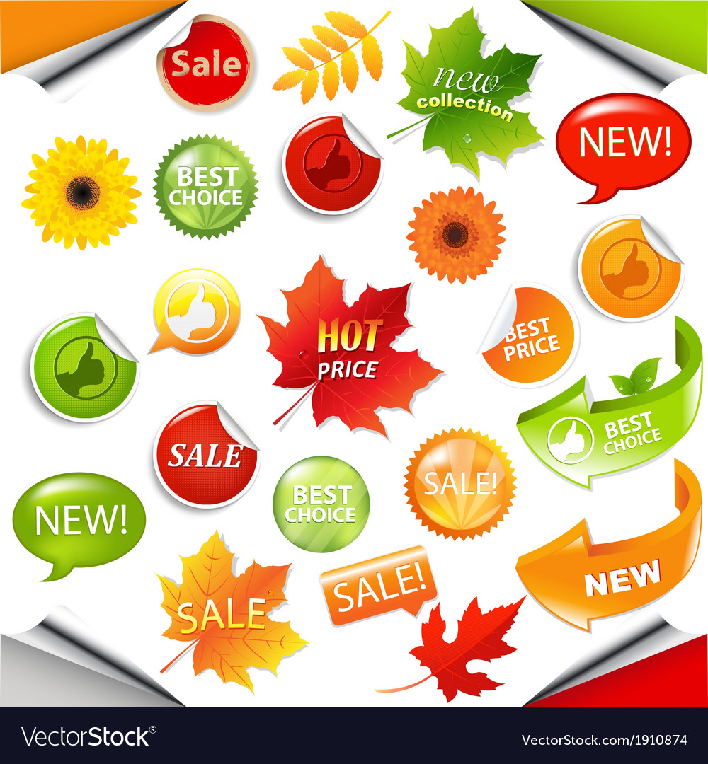 Autumn collection sale elements with leaves vector | Price: 1 Credit (USD $1)