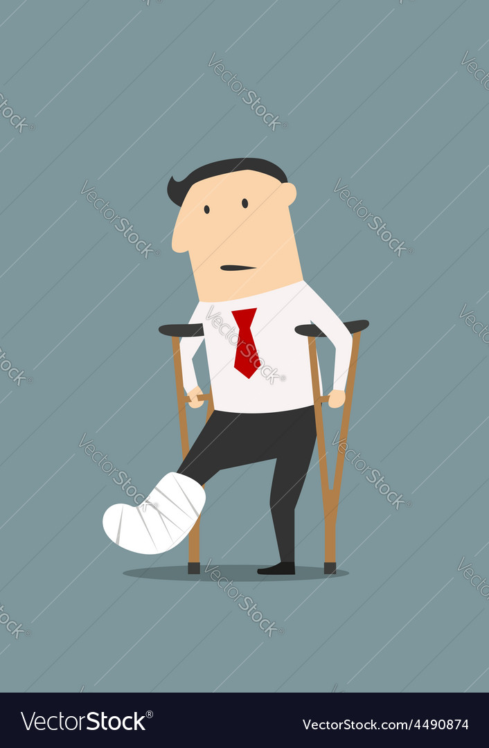 Businessman with broken leg and crutches vector | Price: 1 Credit (USD $1)