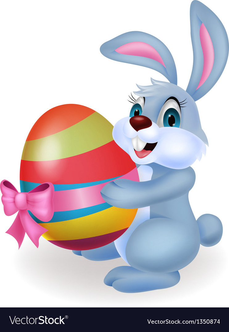 Cute rabbit cartoon holding easter egg vector | Price: 1 Credit (USD $1)