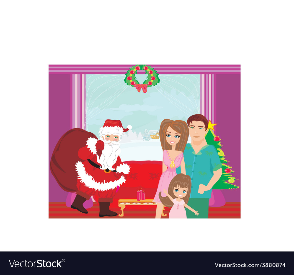 Family christmas at home vector | Price: 1 Credit (USD $1)