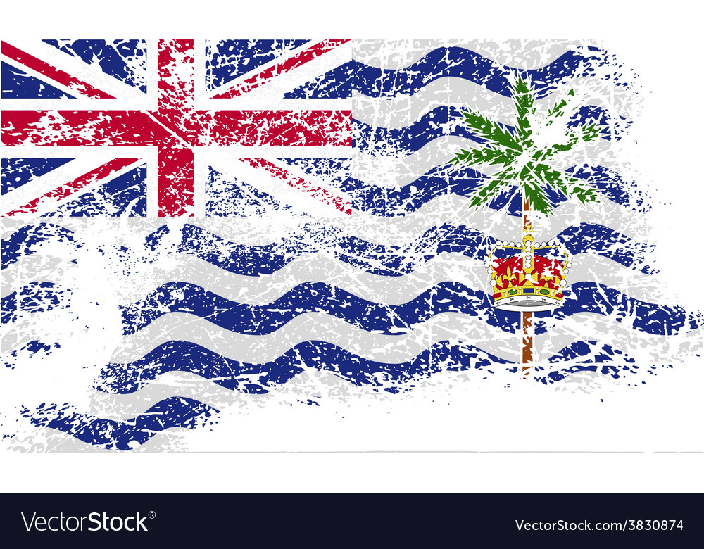 Flag of british indian ocean territory with old vector | Price: 1 Credit (USD $1)
