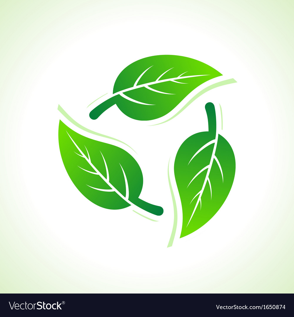 Green leaves make a recycle icon vector | Price: 1 Credit (USD $1)