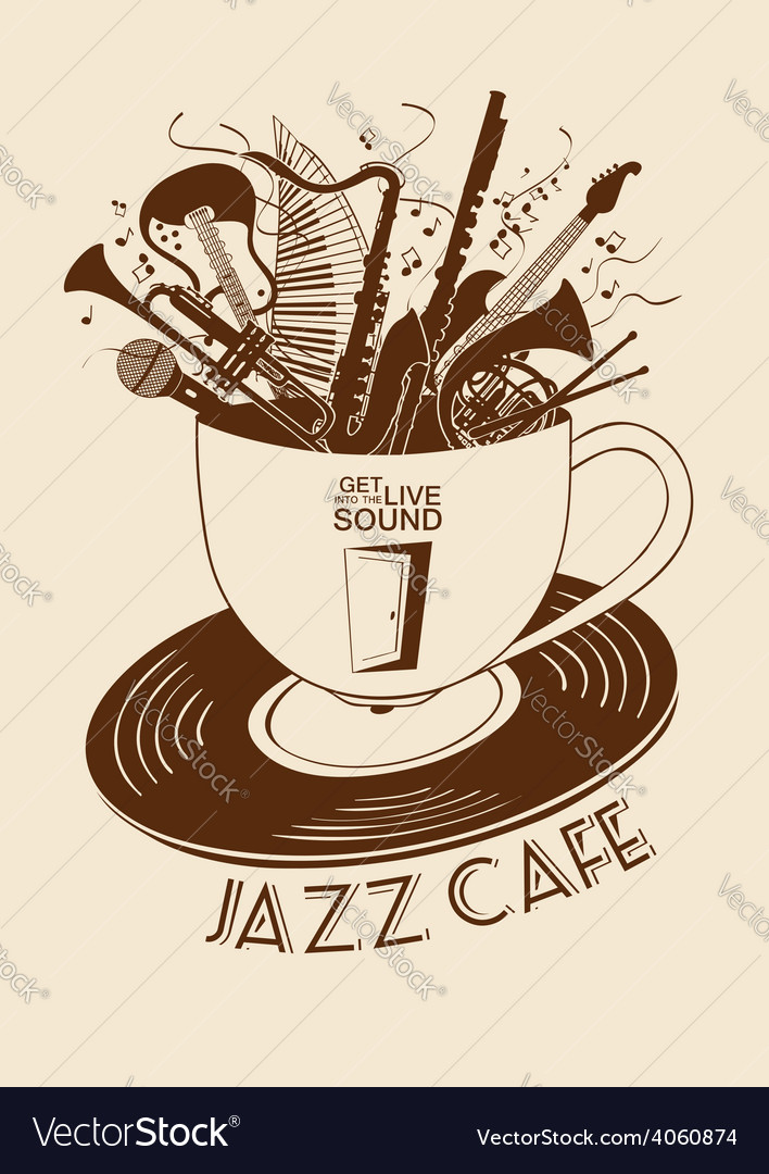 Jazz cafe concept with musical instruments in a vector   Price: 1 Credit (USD $1)