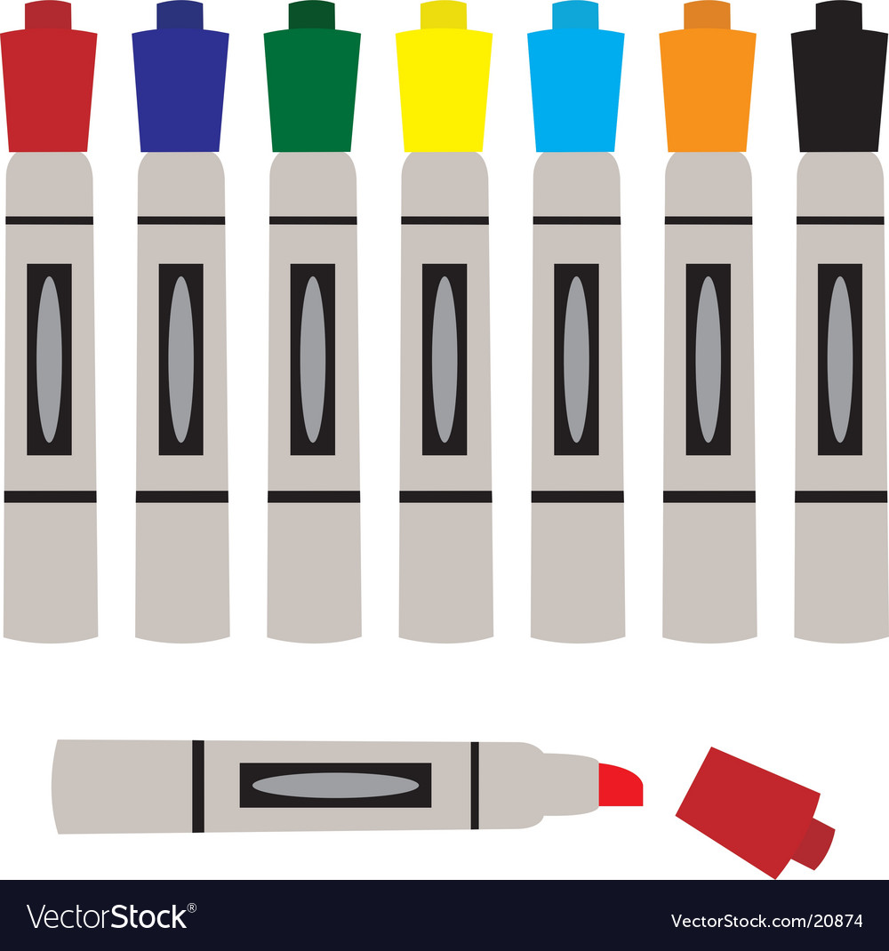 Set of colored markers vector   Price: 1 Credit (USD $1)