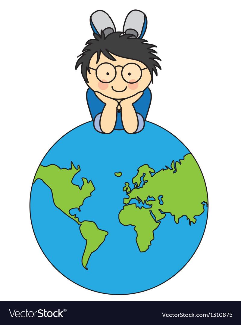 Boywith a globe vector | Price: 3 Credit (USD $3)