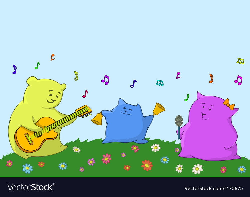Cartoon toy animals musicians vector | Price: 1 Credit (USD $1)