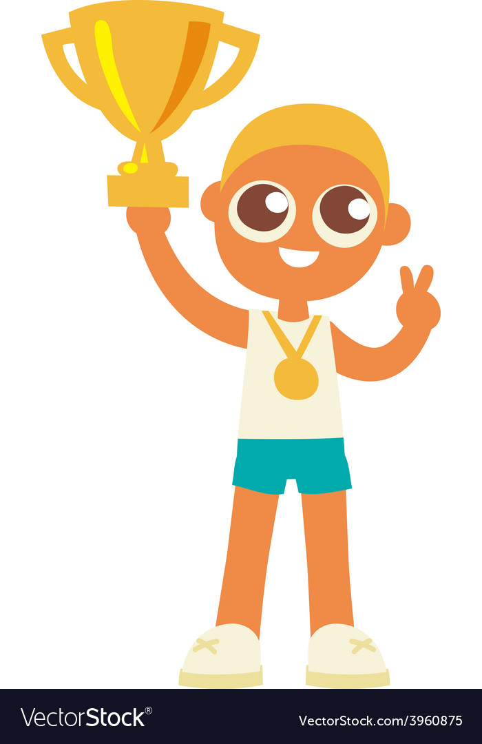 Championship winner boy hold a golden goblet vector | Price: 1 Credit (USD $1)