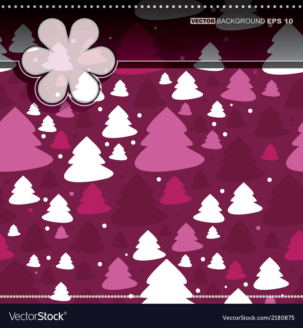 Decorative card with new year tree vector | Price: 1 Credit (USD $1)