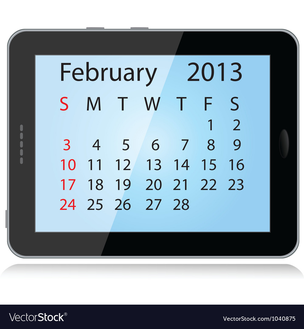 February 2013 calendar vector | Price: 1 Credit (USD $1)