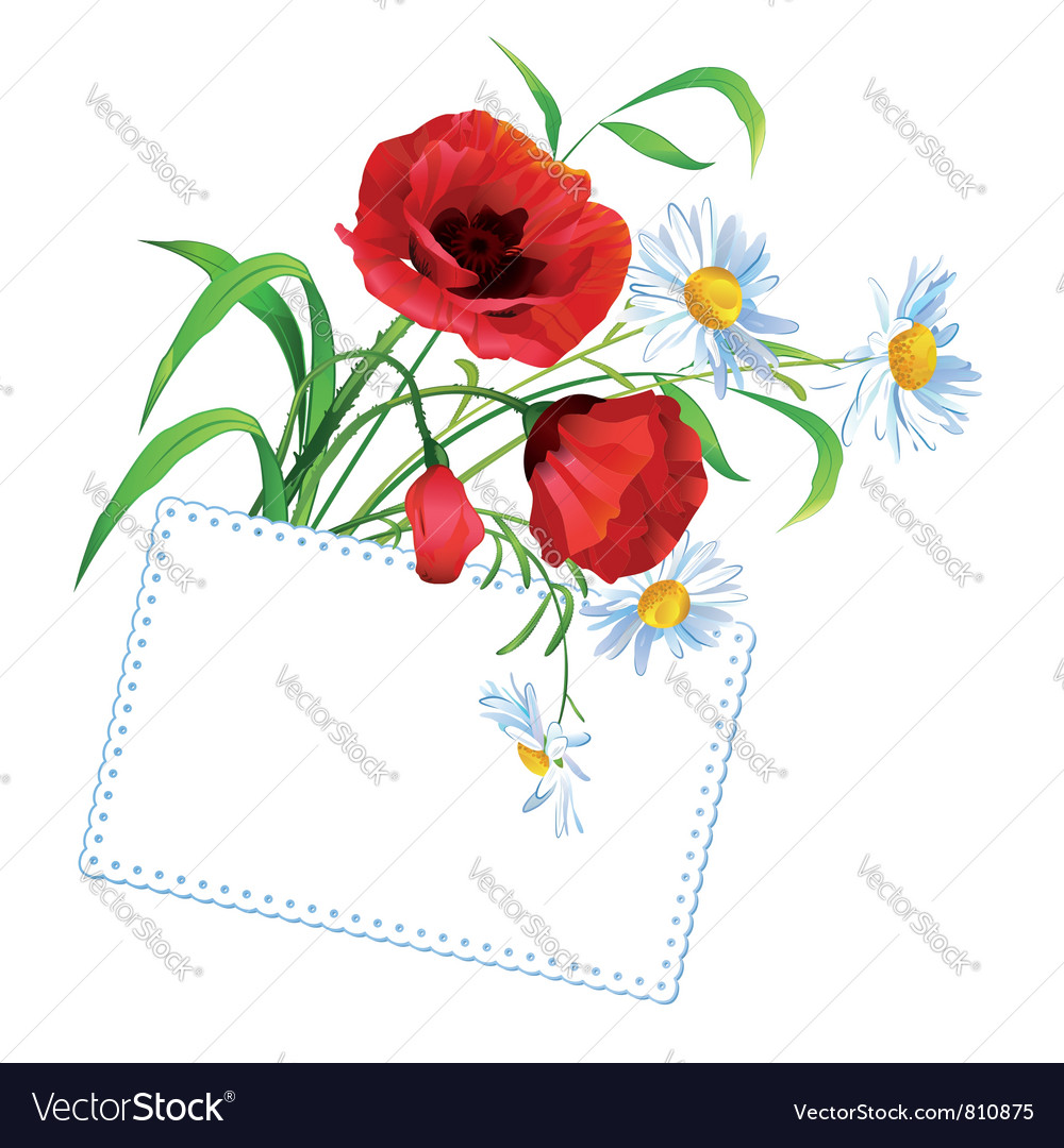 Flower bouquet with greeting vector | Price: 1 Credit (USD $1)