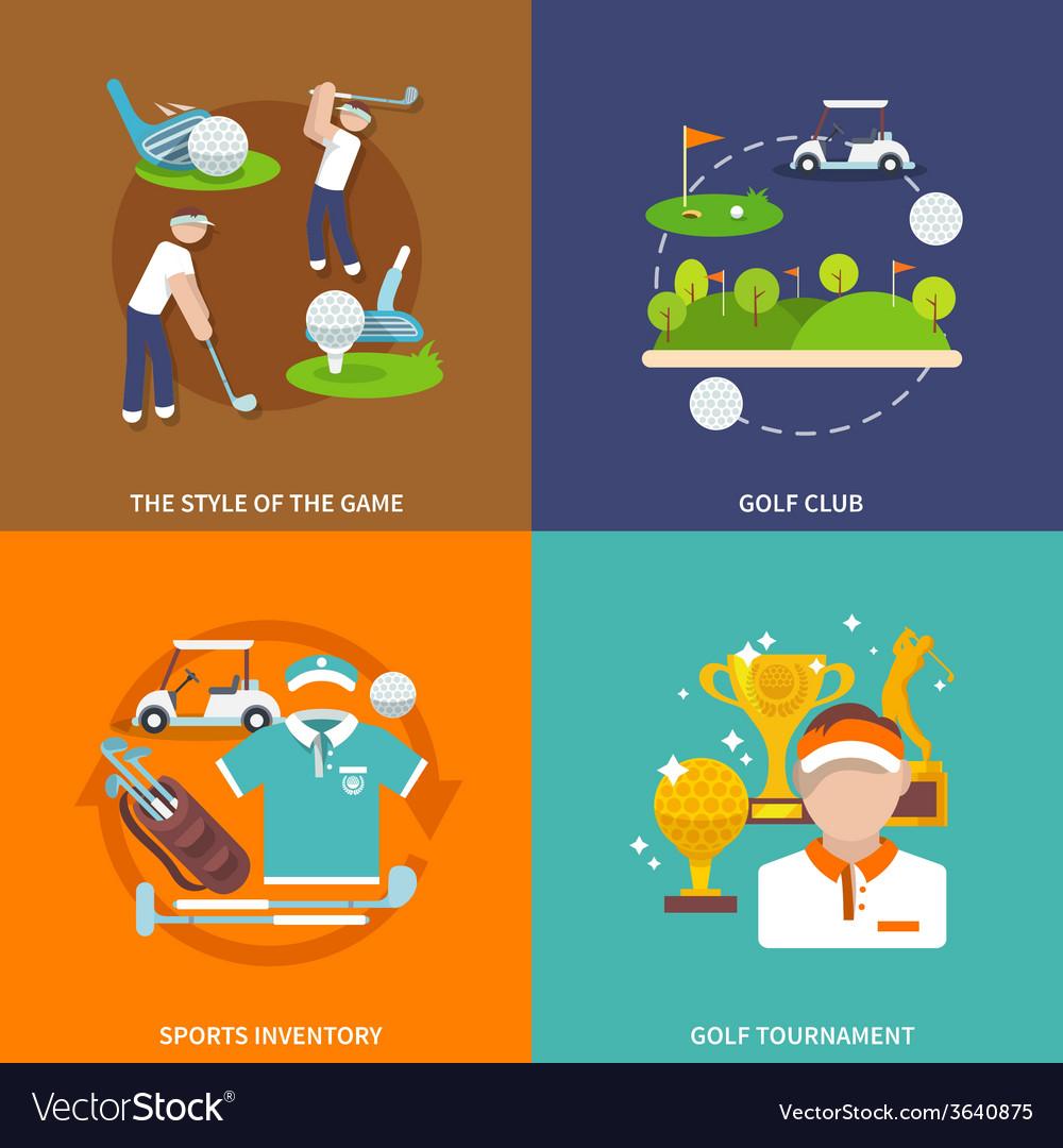Golf flat set vector | Price: 1 Credit (USD $1)