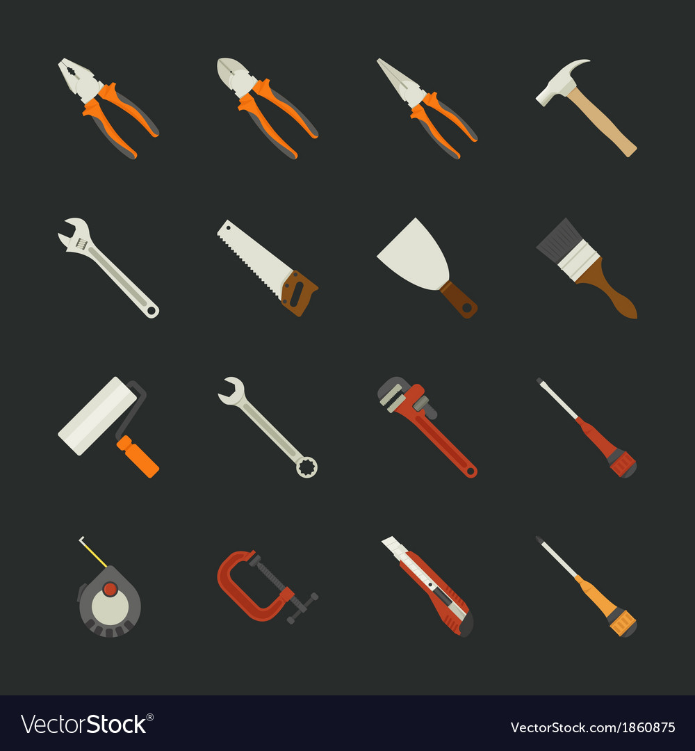 Hand tools icon set flat design vector | Price: 1 Credit (USD $1)