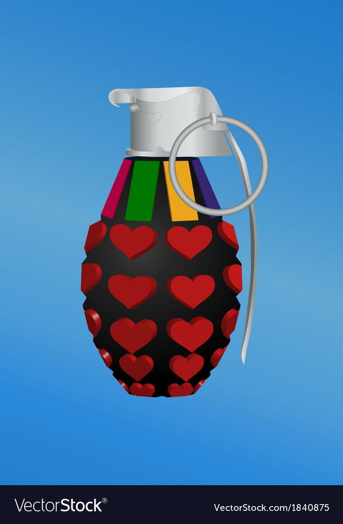 Heart-shape grenade icon vector | Price: 1 Credit (USD $1)