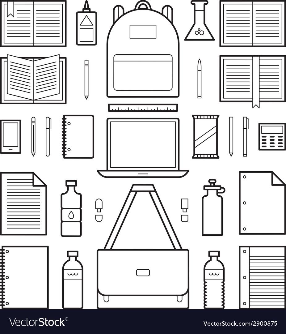 Icons school supplies vector | Price: 1 Credit (USD $1)