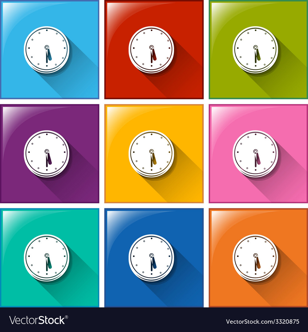Icons with wall clocks vector | Price: 1 Credit (USD $1)