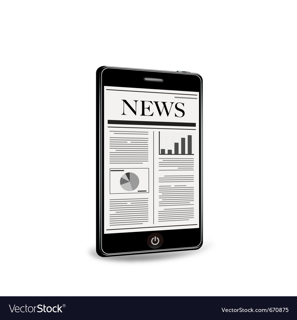 Reading newspaper with smart phone vector | Price: 1 Credit (USD $1)