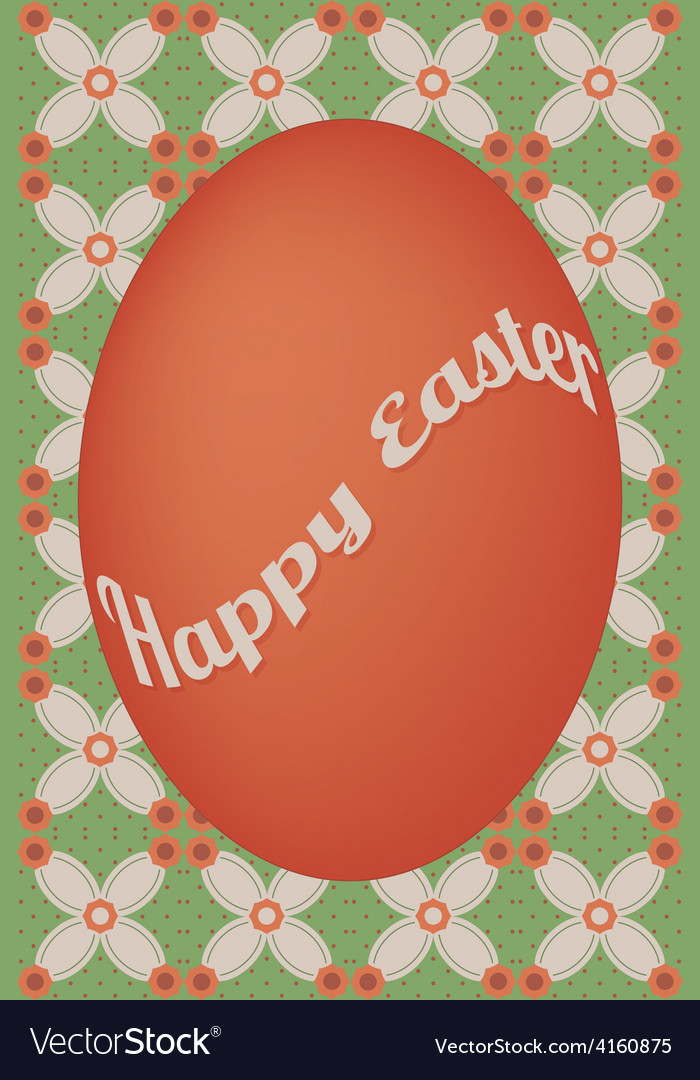 Red egg easter card on flower dot pattern vector | Price: 1 Credit (USD $1)