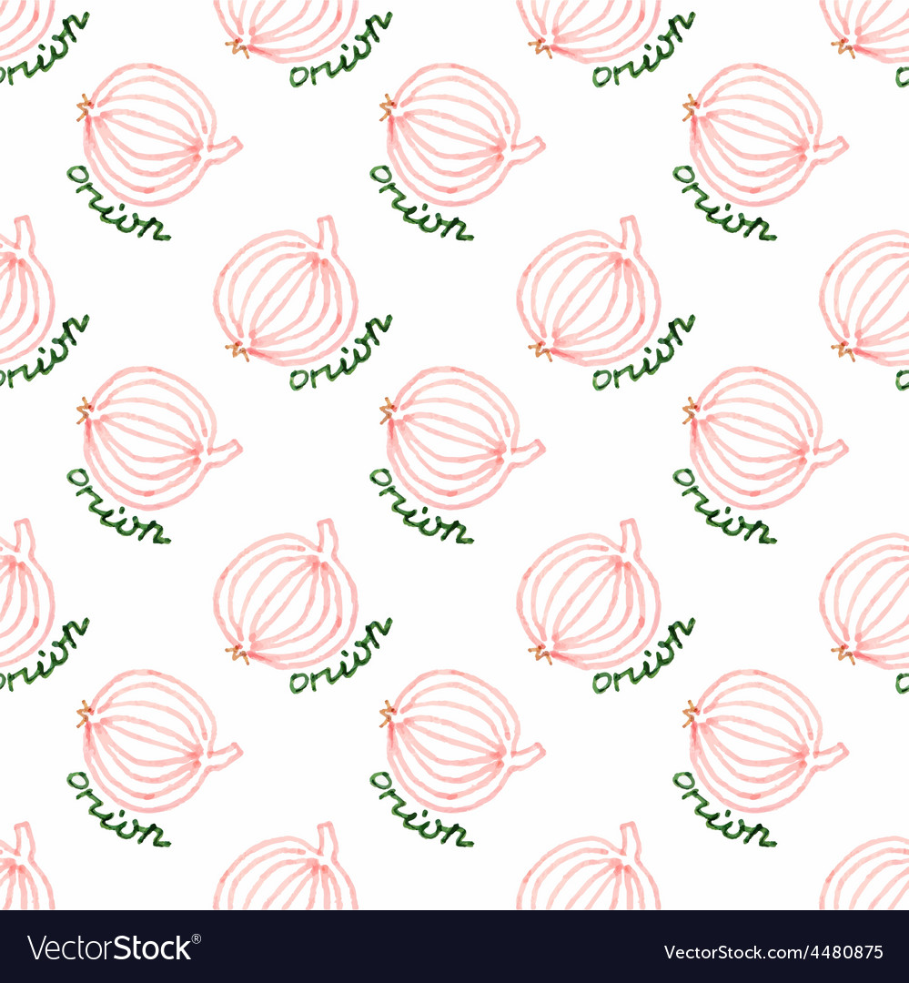 Seamless watercolor pattern with onion on the vector | Price: 1 Credit (USD $1)