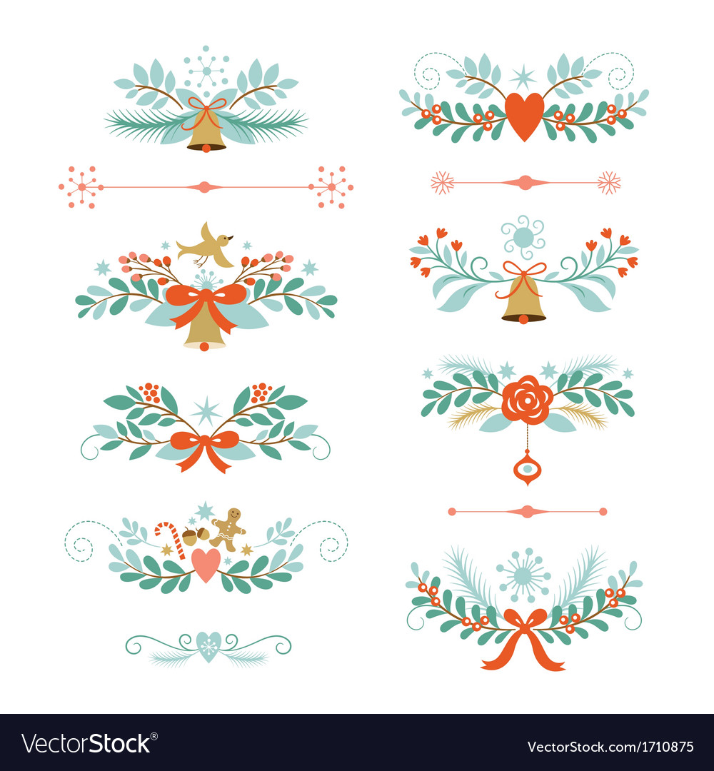 Set of christmas and new year graphic elements vector | Price: 1 Credit (USD $1)