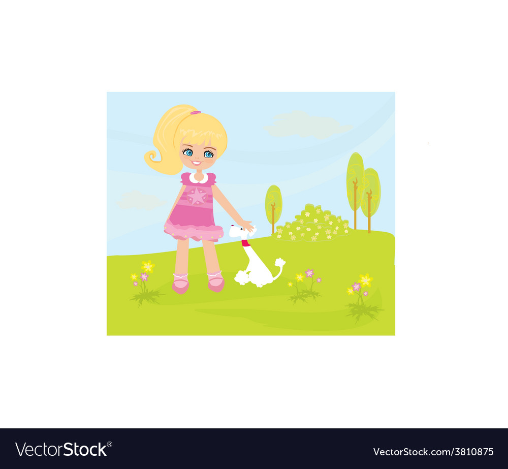 Sweet girl and her puppy in the park vector | Price: 1 Credit (USD $1)