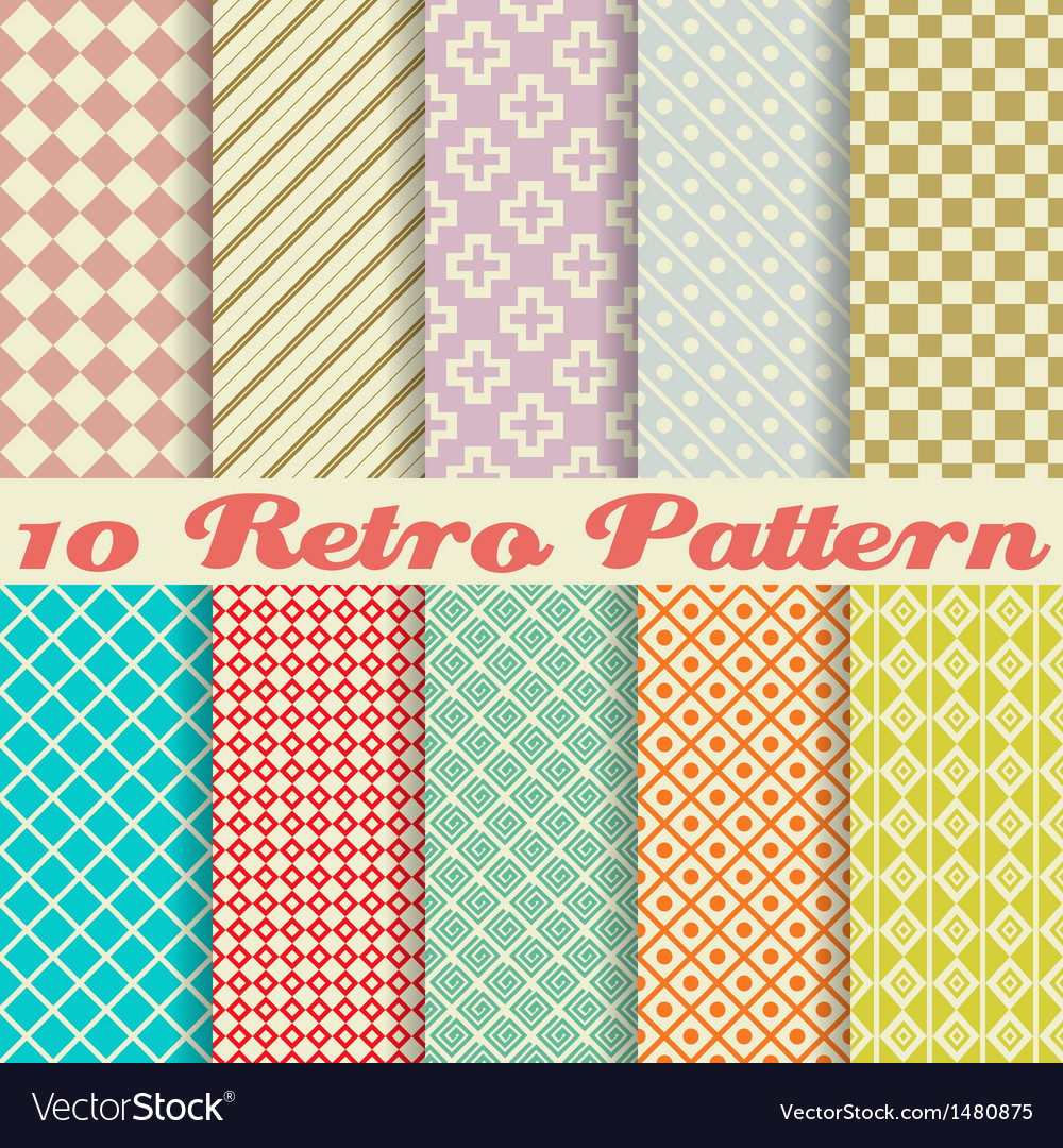 Ten retro different seamless patterns tiling vector | Price: 1 Credit (USD $1)