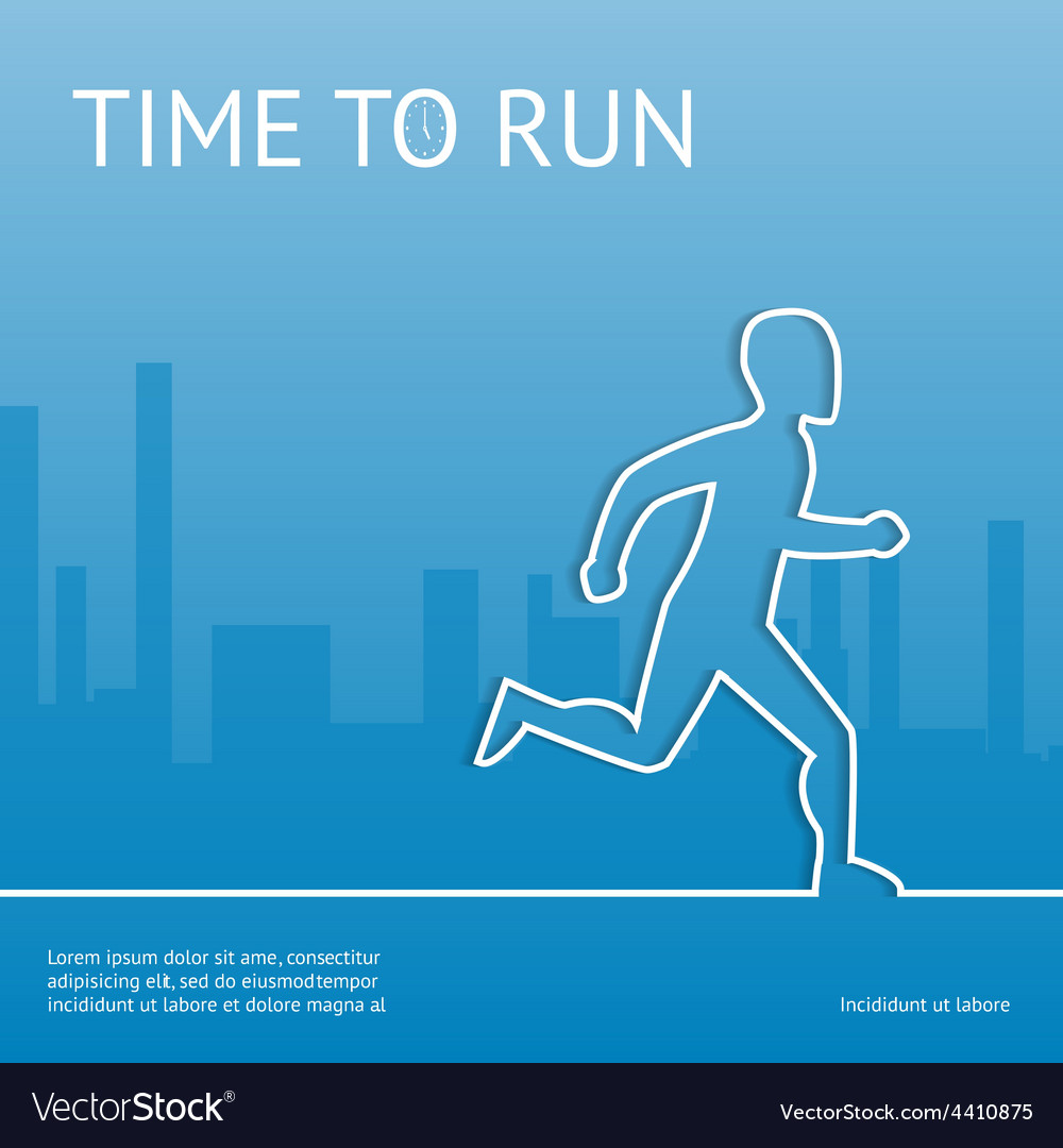 Time to run sport in the city vector | Price: 1 Credit (USD $1)