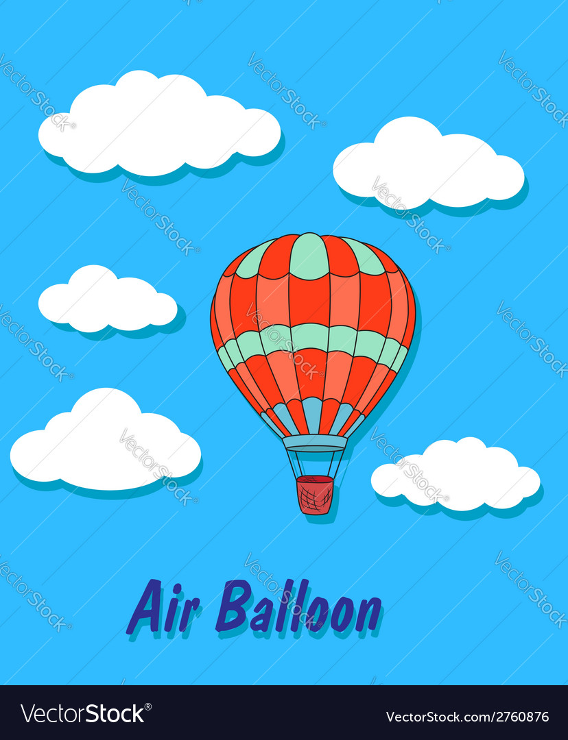 Air balloon in sky and clouds vector | Price: 1 Credit (USD $1)