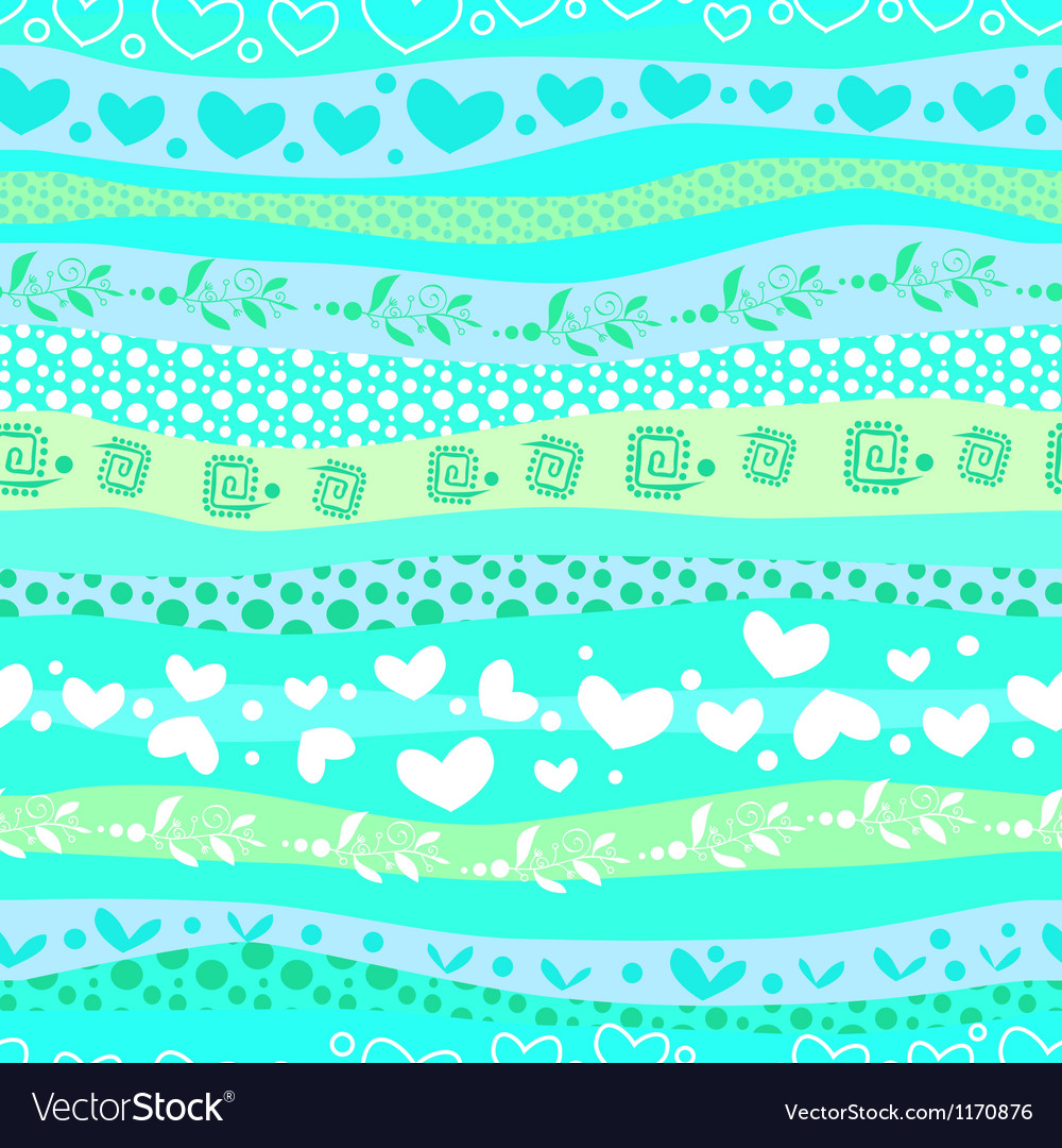 Blue love valentins day waves seamless background vector | Price: 1 Credit (USD $1)