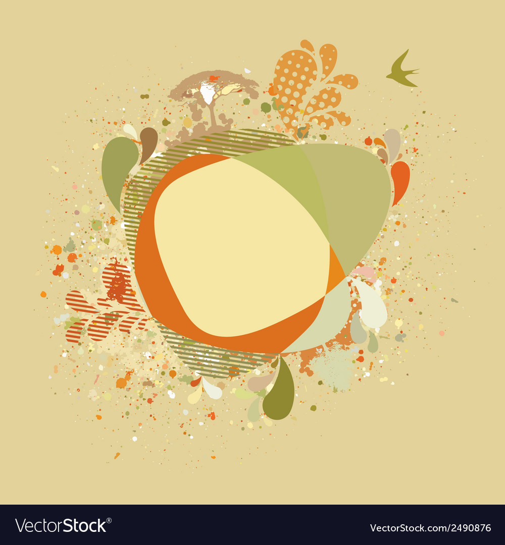 Decorative card with autumn tree and birds eps 8 vector | Price: 1 Credit (USD $1)