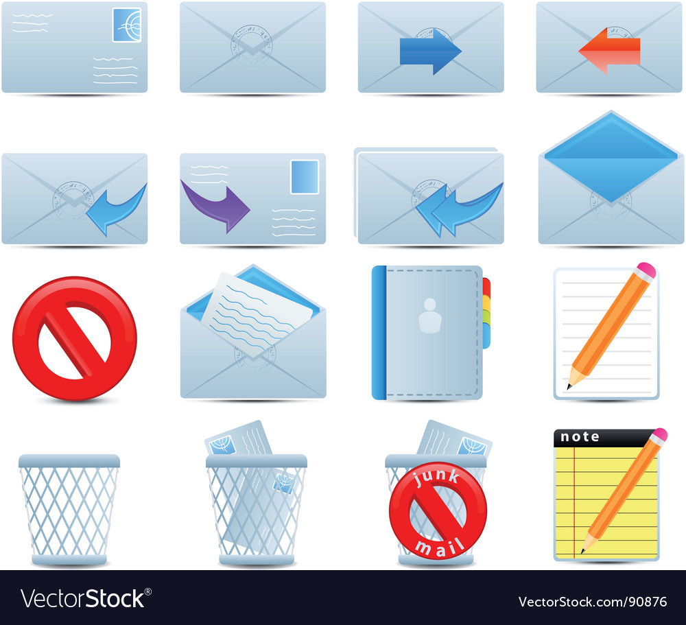Email icons set vector | Price: 1 Credit (USD $1)