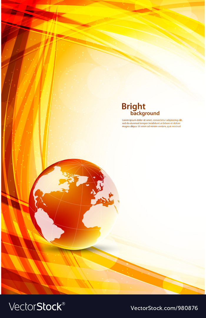 Orange background with globe vector | Price: 1 Credit (USD $1)